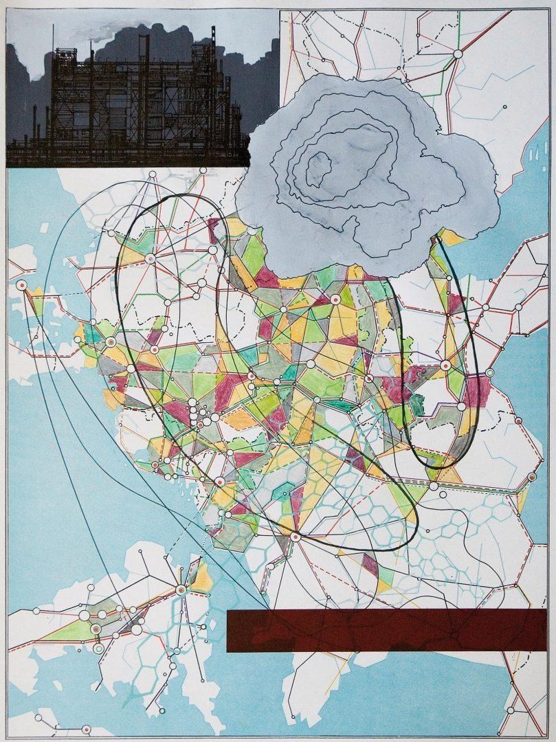 Michael Lukas, Yukos, Mischtechnik auf Papier, 41 x 31 cm, 2007
