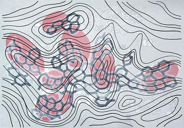 Michael Lukas, o.T., Mischtechnik auf Papier, 70 x 100 cm, 2015