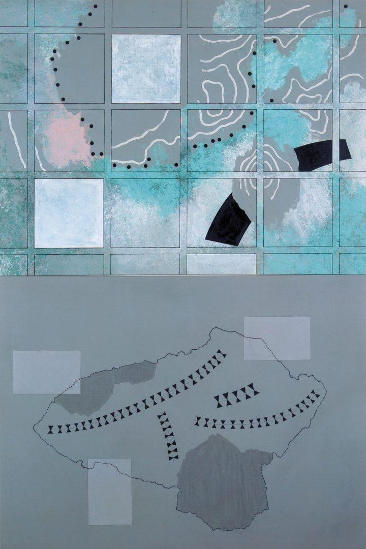 Michael Lukas, o.T., B-13/91, Acryl und Tusche auf Leinwand, 240 x 160 cm, 1991