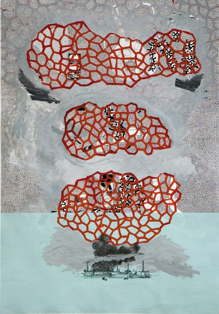 Michael Lukas, o.T., Mischtechnik auf Papier, 100 x 70 cm, 2006