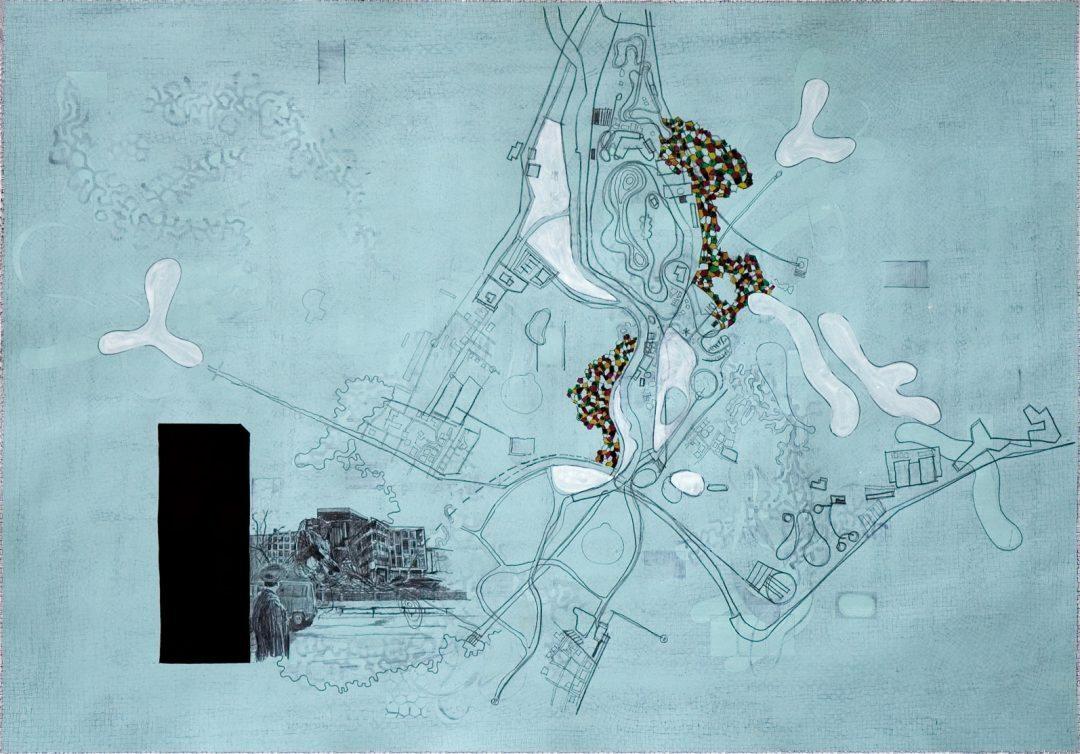 Michael Lukas, Serbia, Mischtechnik auf Papier, 70 x 120 cm, 2007