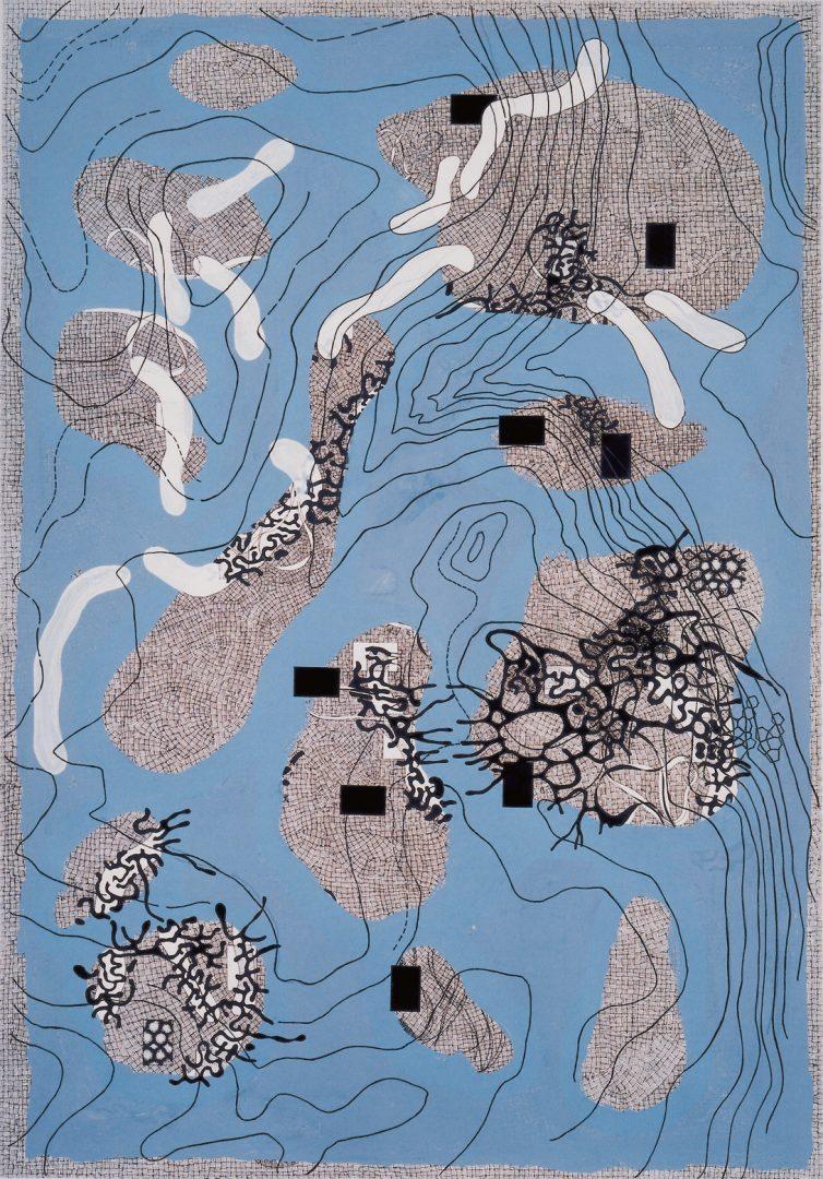 Michael Lukas, Landschaft, Mischtechnik auf Papier, 100 x 70 cm, 2000